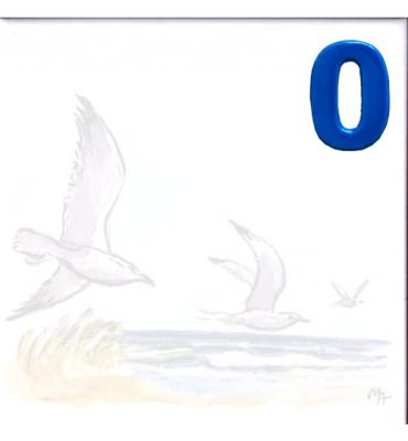 Zahl 0 für Bildfliese