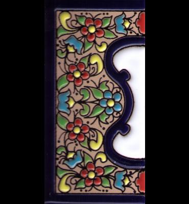 Randfliese breit Blumen Dekor