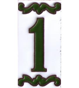 Zahl 1 Dekor Verde
