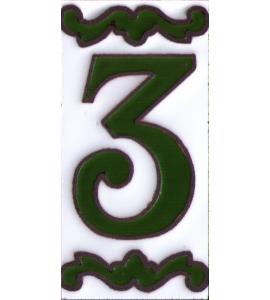 Zahl 3 Dekor Verde
