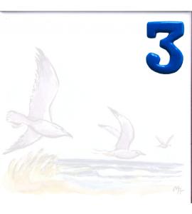 Zahl 3 für Bildfliese