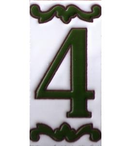 Zahl 4 Dekor Verde