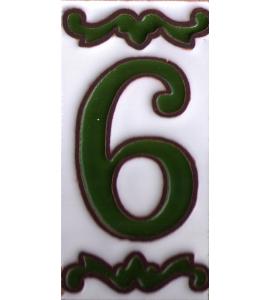 Zahl 6 Dekor Verde