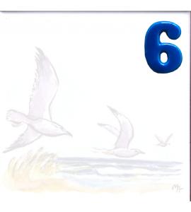 Zahl 6 für Bildfliese