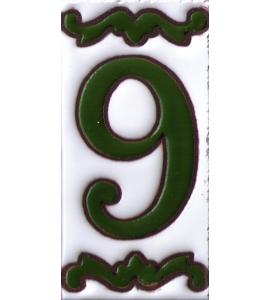 Zahl 9 Dekor Verde